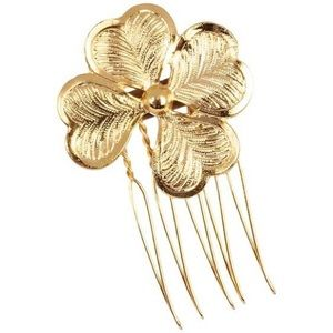 NEW Elizabeth and James 14k Gold Clover Hair Comb